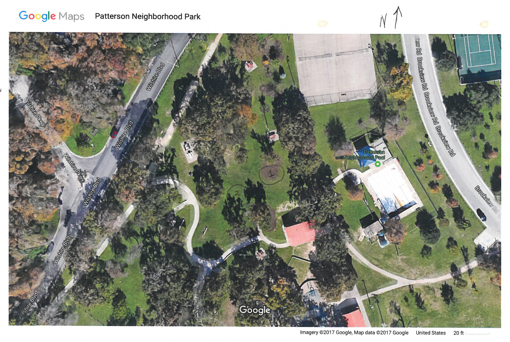 Google Earth view of Patterson: tree planting areas 1 and 2